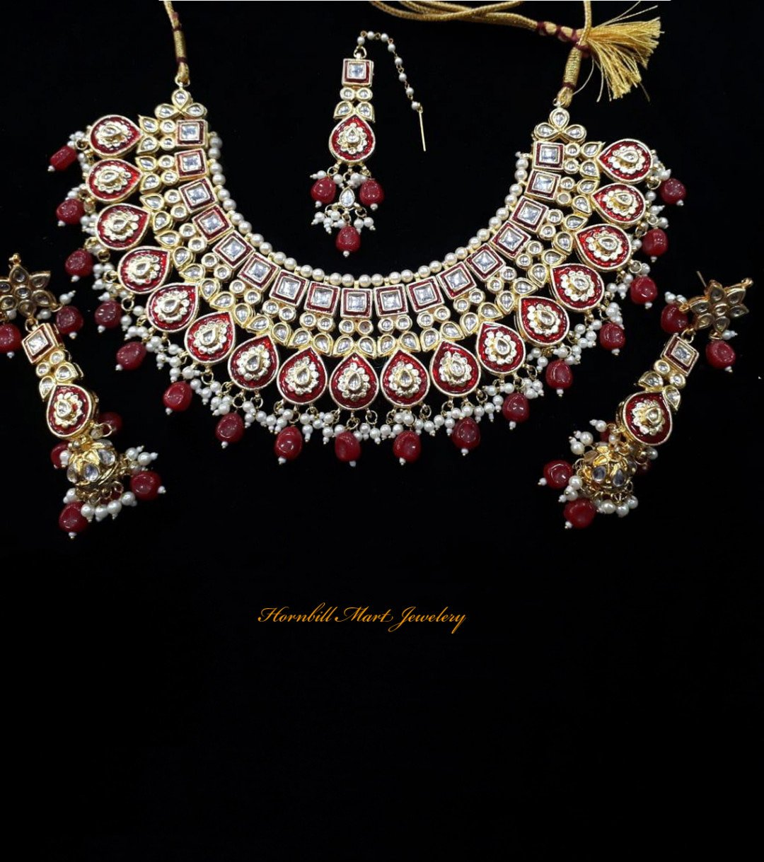 HM Kundan Necklace Set Maroon Meenakari Work