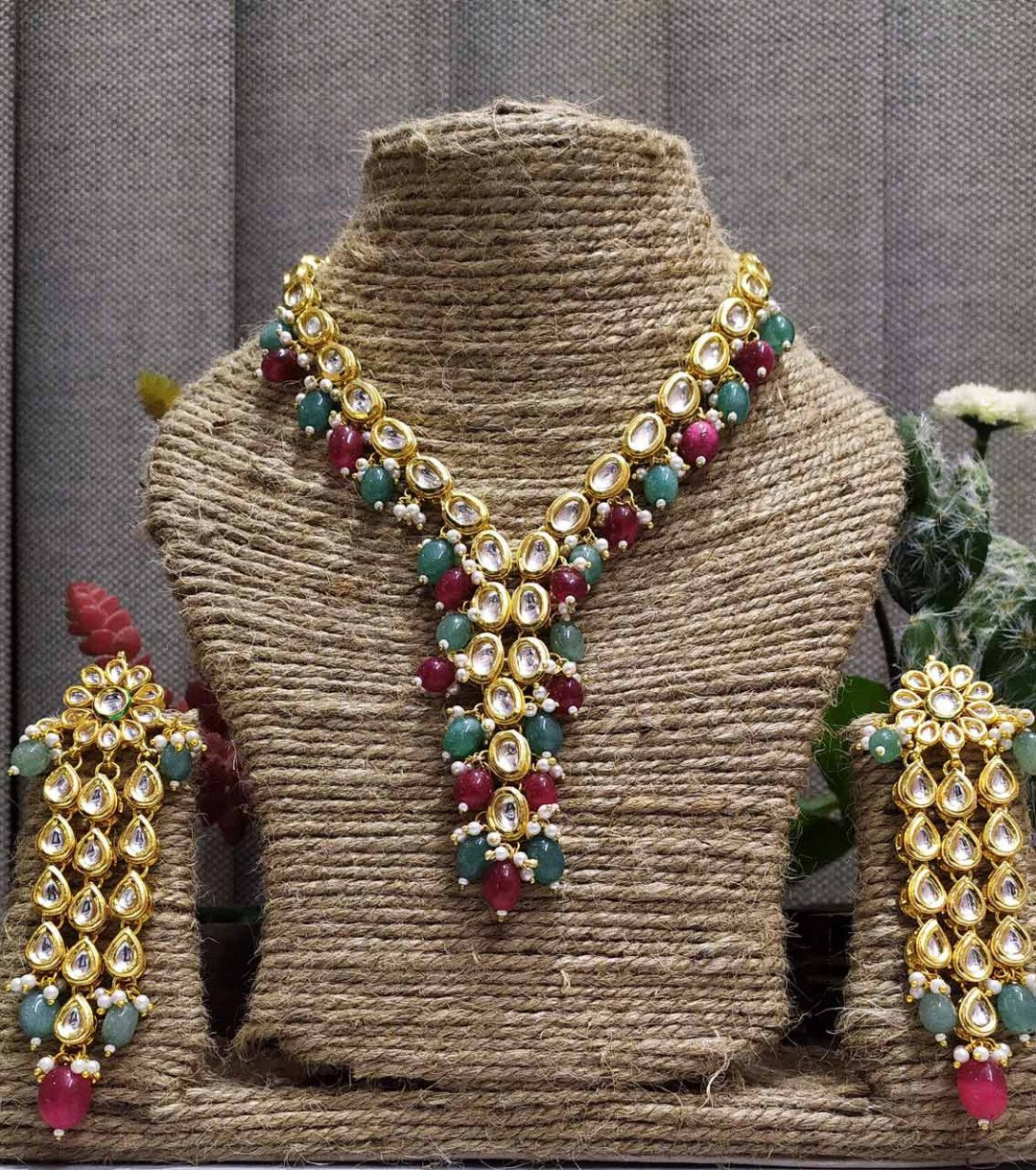High quality kundan necklace sets Multi color  for women & girls 11220