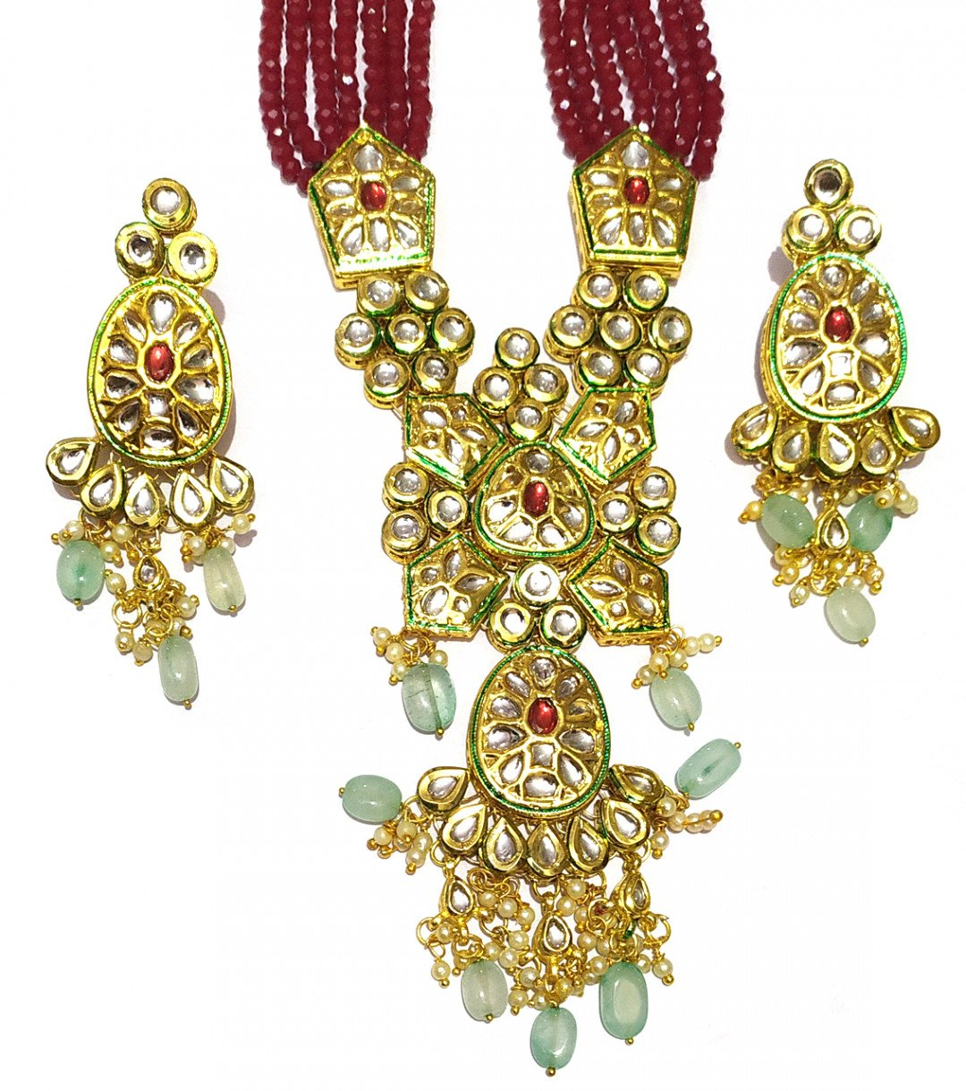 High quality kundan necklace sets Maroon Beads color  for women & girls 33021