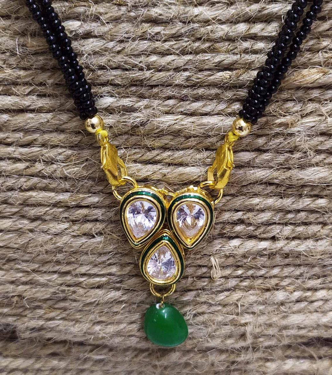 Kundan Mangalsutra High Quality  Green Beads With Tops