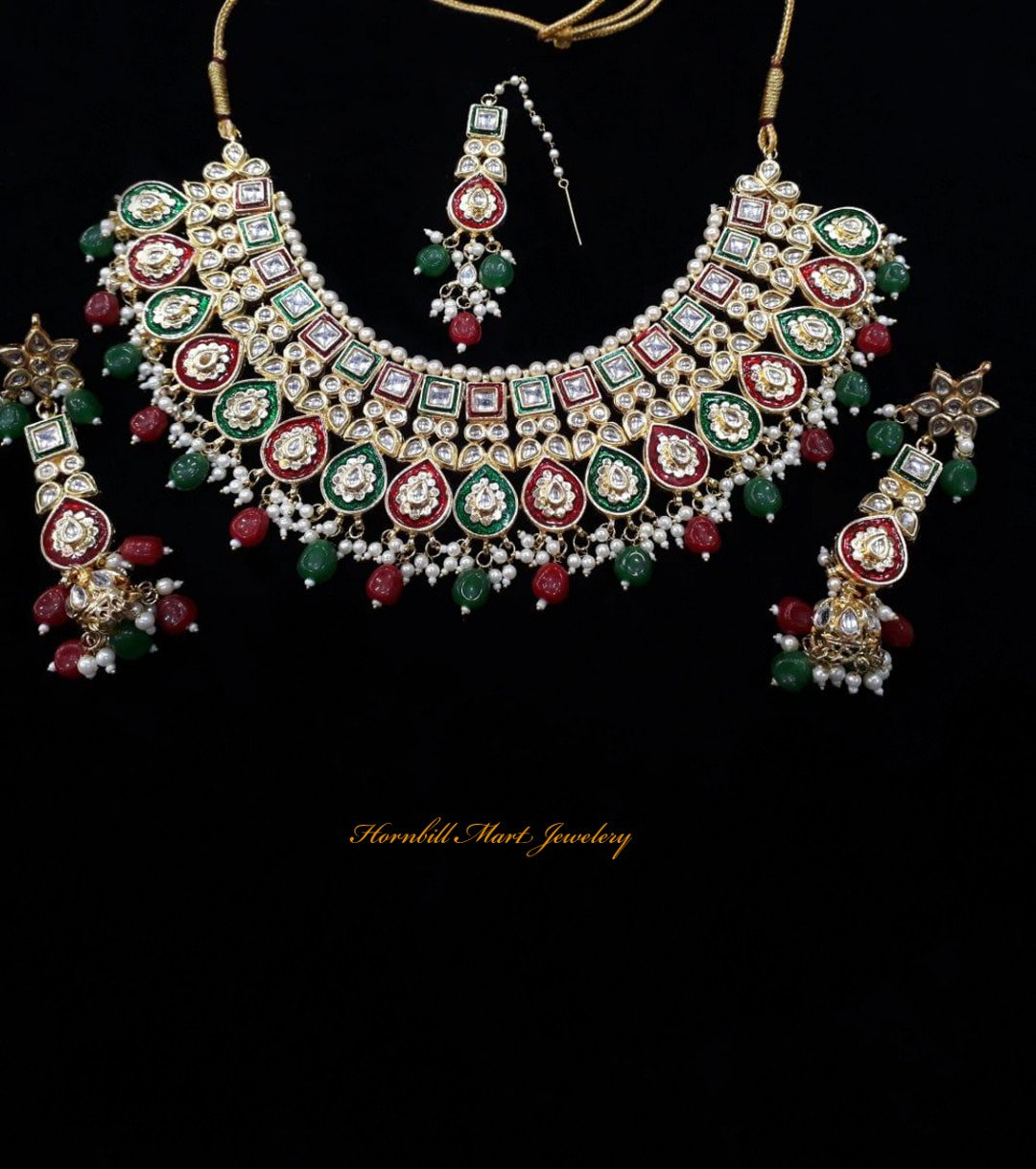HM Kundan Necklace Set Multi Color Meenakari Work