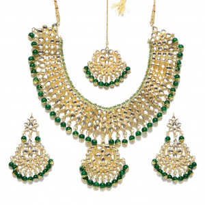 Green Color Necklace Set Earrings With Maang Tikka Kundan Stone For Woman & Girls