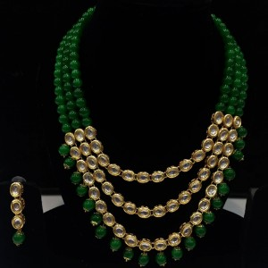 Green Color Necklace Set With Earrings Kundan Stone For Woman & Girls