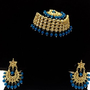 HM Necklace Set Kundan Stone Aqua (Firozi) Beads Choker With Earrings & Maang Tikka Set For Woman & Girls