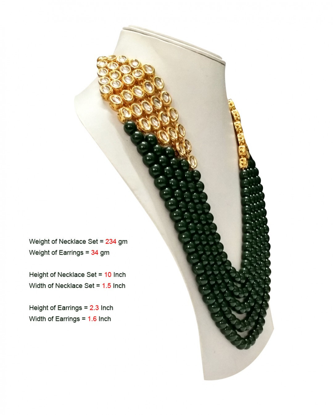HM Necklace Set Kundan Stone Green Beads Mulri Chain For Woman & Girls