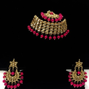 HM Necklace Set Kundan Stone Magenta (Rani) Color Beads Choker With Earrings & Maang Tikka Set For Woman & Girls