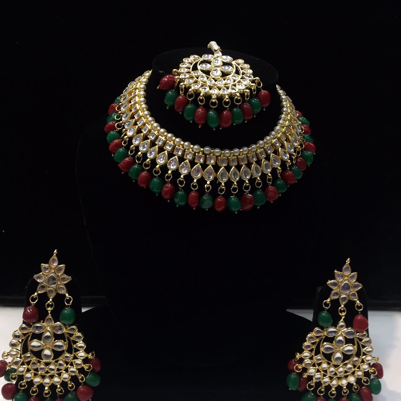 HM Necklace Set Kundan Stone Multi Color Beads Choker Set For Woman & Girls