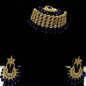 HM Necklace Set Kundan Stone Nevi Blue Beads Choker With Earrings & Maang Tikka Set For Woman & Girls