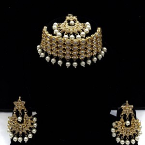 HM Necklace Set Kundan Stone White Color Beads Choker With Earrings & Maang Tikka Set For Woman & Girls