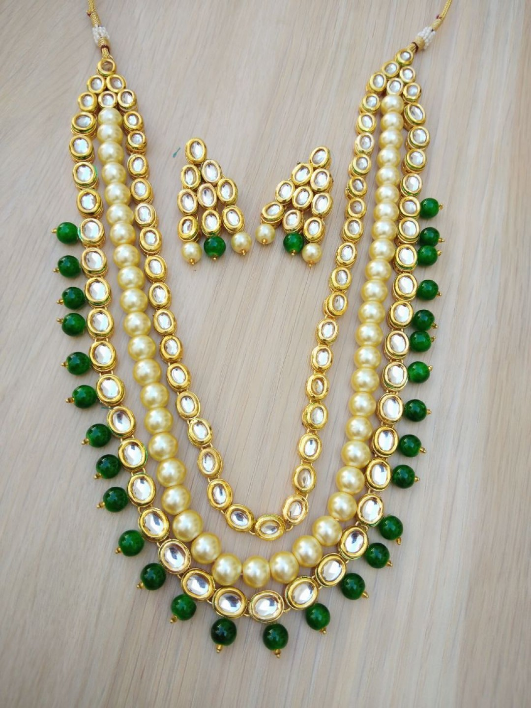 HM Necklace Set With Earrings Kundan Stone Gold Tone Green Color Beads For Woman & Girls 03