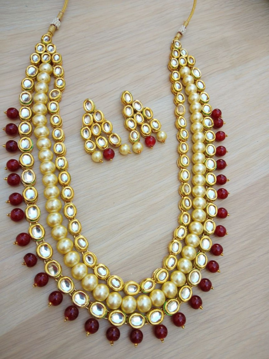 HM Necklace Set With Earrings Kundan Stone Gold Tone Maroon Color Beads For Woman & Girls 02