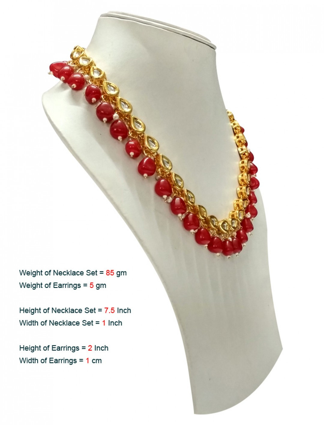 HM Necklace Set With Earrings Kundan Stone Gold Tone Red Color Beads For Woman & Girls