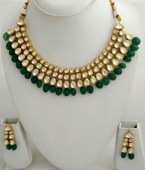 HM Necklace Set With Earrings Kundan Stone Green Beads Color Three Line For Woman & Girls