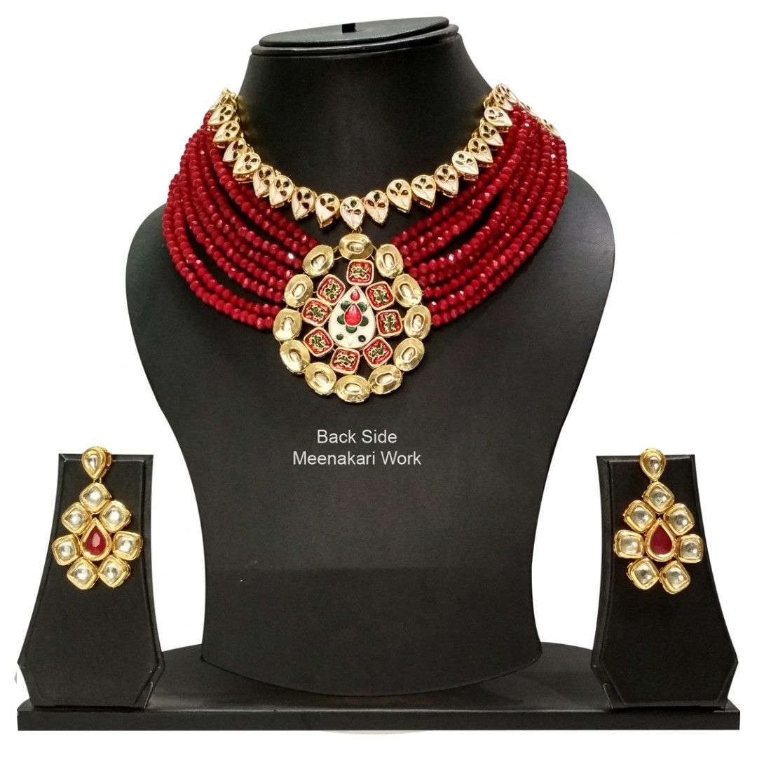 Necklace Set With Earrings Kundan Stone Maroon Color Mulri Chain For Woman & Girls