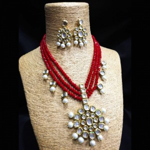 HM Necklace Set With Earrings Kundan Stone Red Color Three Chain For Woman & Girls
