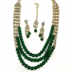 HM Necklace Set With Earrings & Maang Teeka Kundan Stone Gold Tone Green Color Beads For Woman & Girls 02