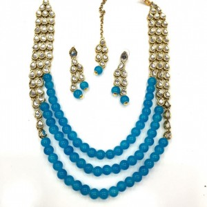 HM Necklace Set With Earrings & Maang Teeka Kundan Stone Gold Tone Light Blue Color Beads For Woman & Girls 03