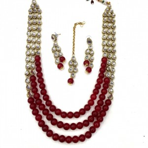 HM Necklace Set With Earrings & Maang Teeka Kundan Stone Gold Tone Maroon Color Beads For Woman & Girls 05