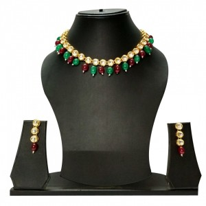 HM Necklace Set With Earrings Round Kundan Stone Gold Tone Multi Color For Woman & Girls