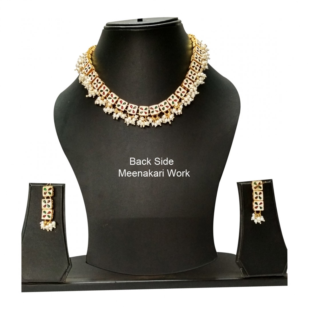 HM Necklace Set With Earrings Square Kundan Stone Gold Tone For Woman & Girls