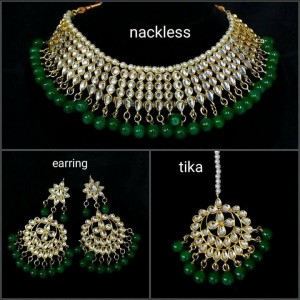 HM Necklace Set With Earrings with Maang Tikka Kundan Stone Green Beads Color Three Line For Woman & Girls 001