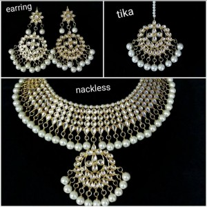 HM Necklace Set With Earrings with Maang Tikka Kundan Stone White Beads Color Three Line For Woman & Girls 002