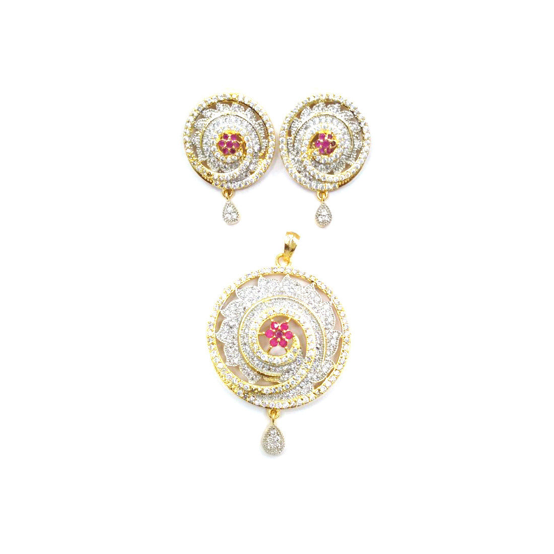 HM AD Pendant Necklace Set With Earrings For Woman & Girls