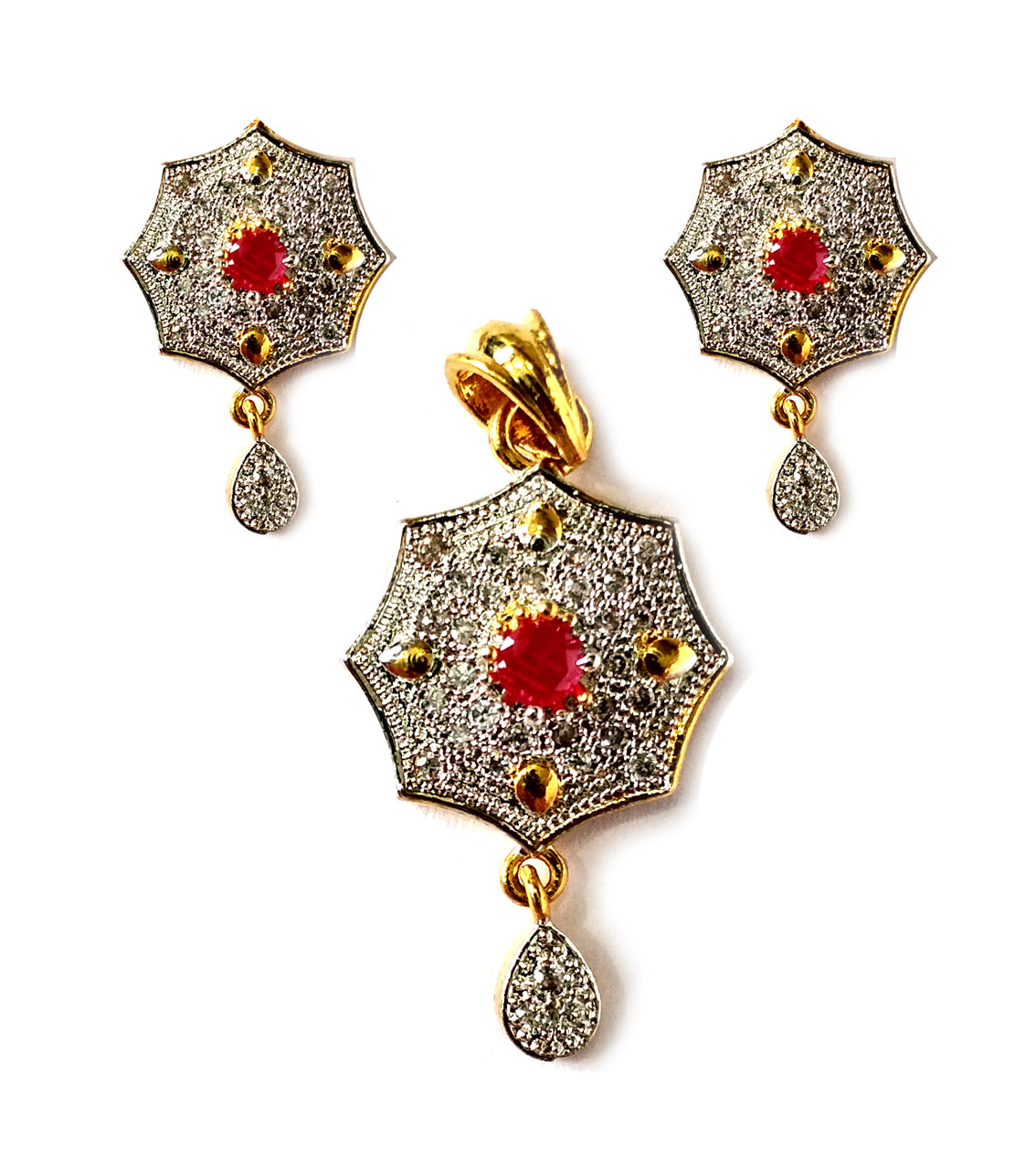 American Diamond Pendant Set With Earrings For Woman & Girls HM018