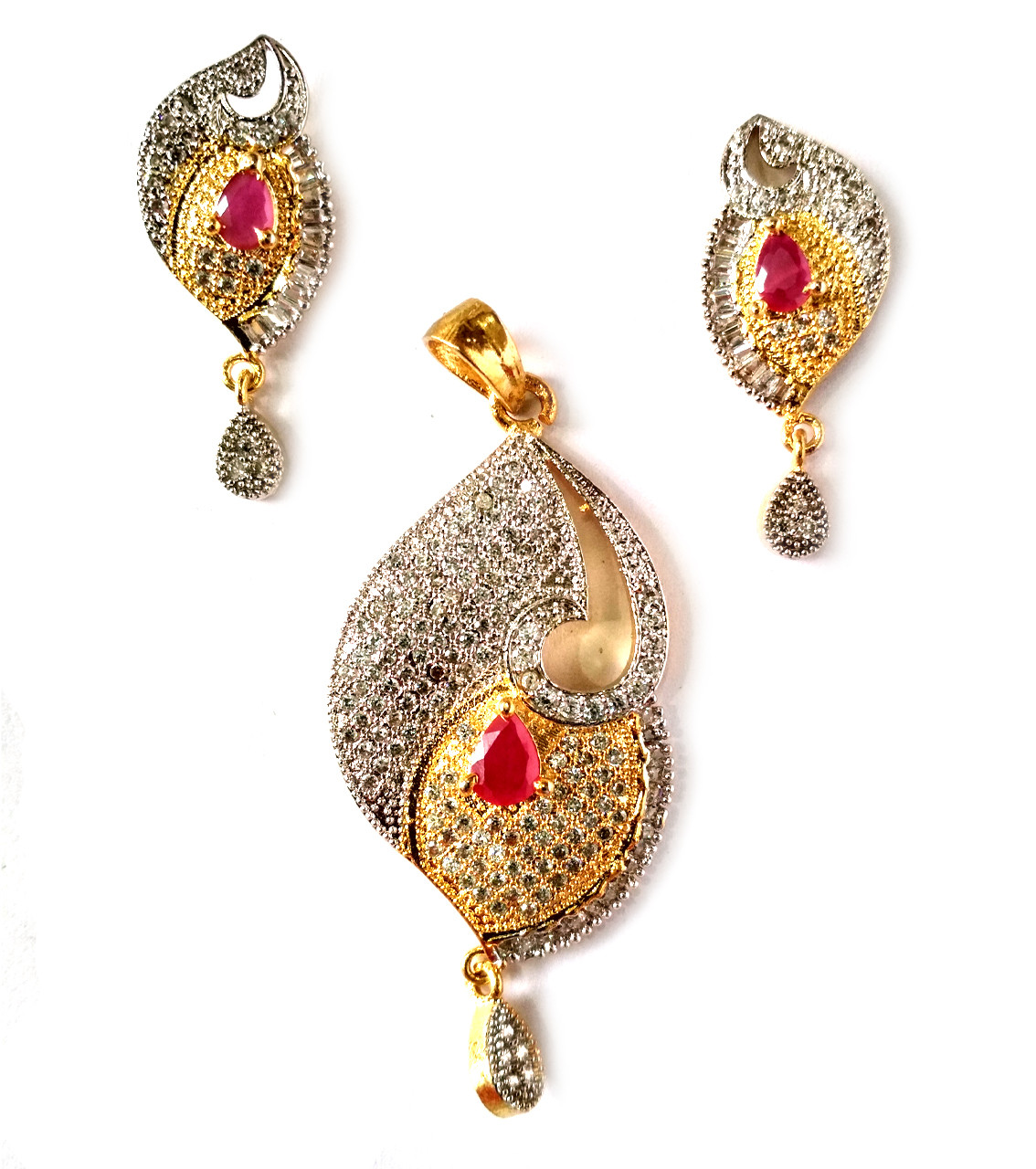 American Diamond Pendant Set With Earrings For Woman & Girls HM020
