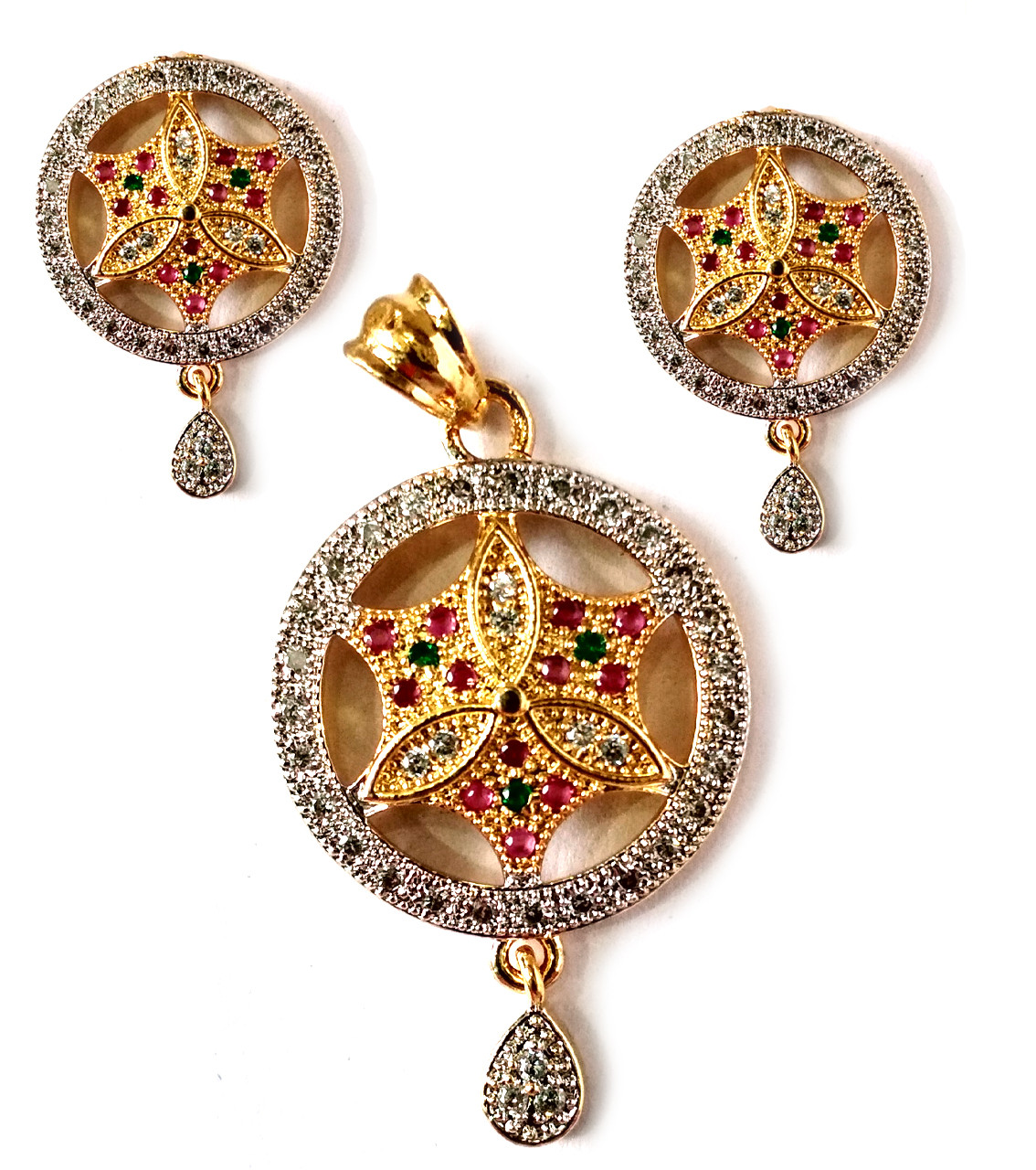 American Diamond Pendant Set With Earrings For Woman & Girls HM021