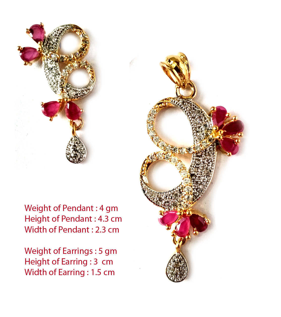 American Diamond Pendant Set With Earrings For Woman & Girls HM022