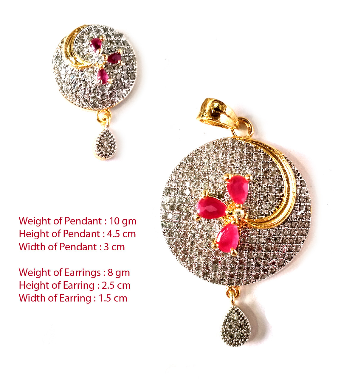 American Diamond Pendant Set With Earrings For Woman & Girls HM024