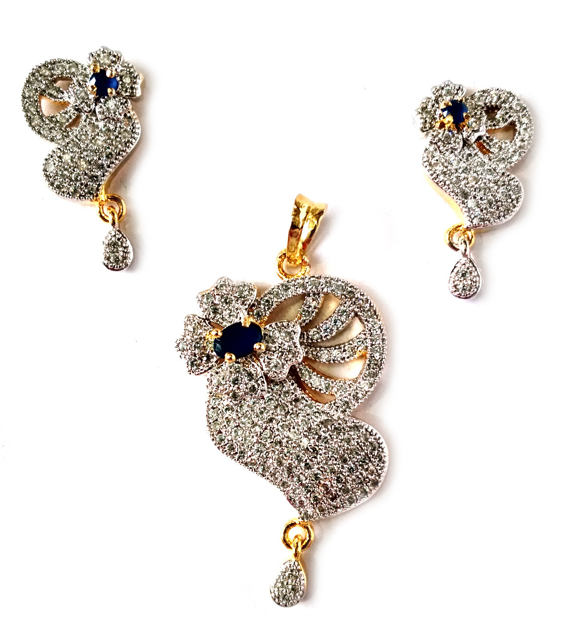American Diamond Pendant Set With Earrings For Woman & Girls HM025
