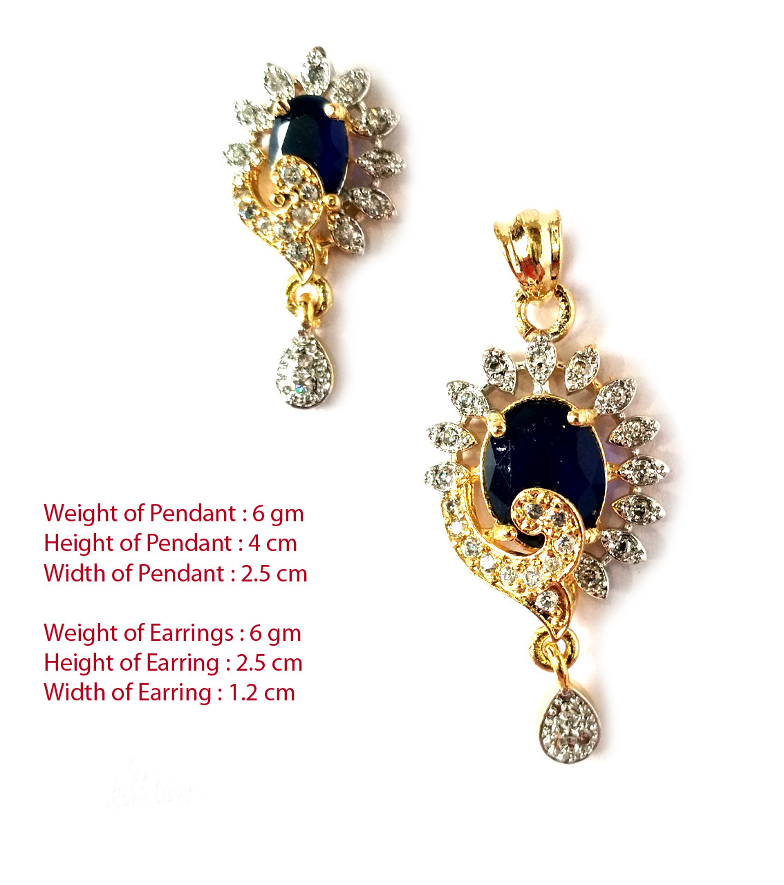 American Diamond Pendant Set With Earrings For Woman & Girls HM026