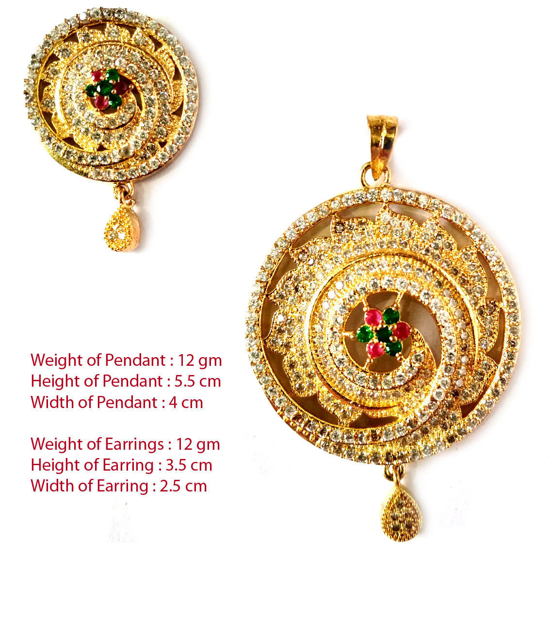American Diamond Pendant Set With Earrings For Woman & Girls HM027
