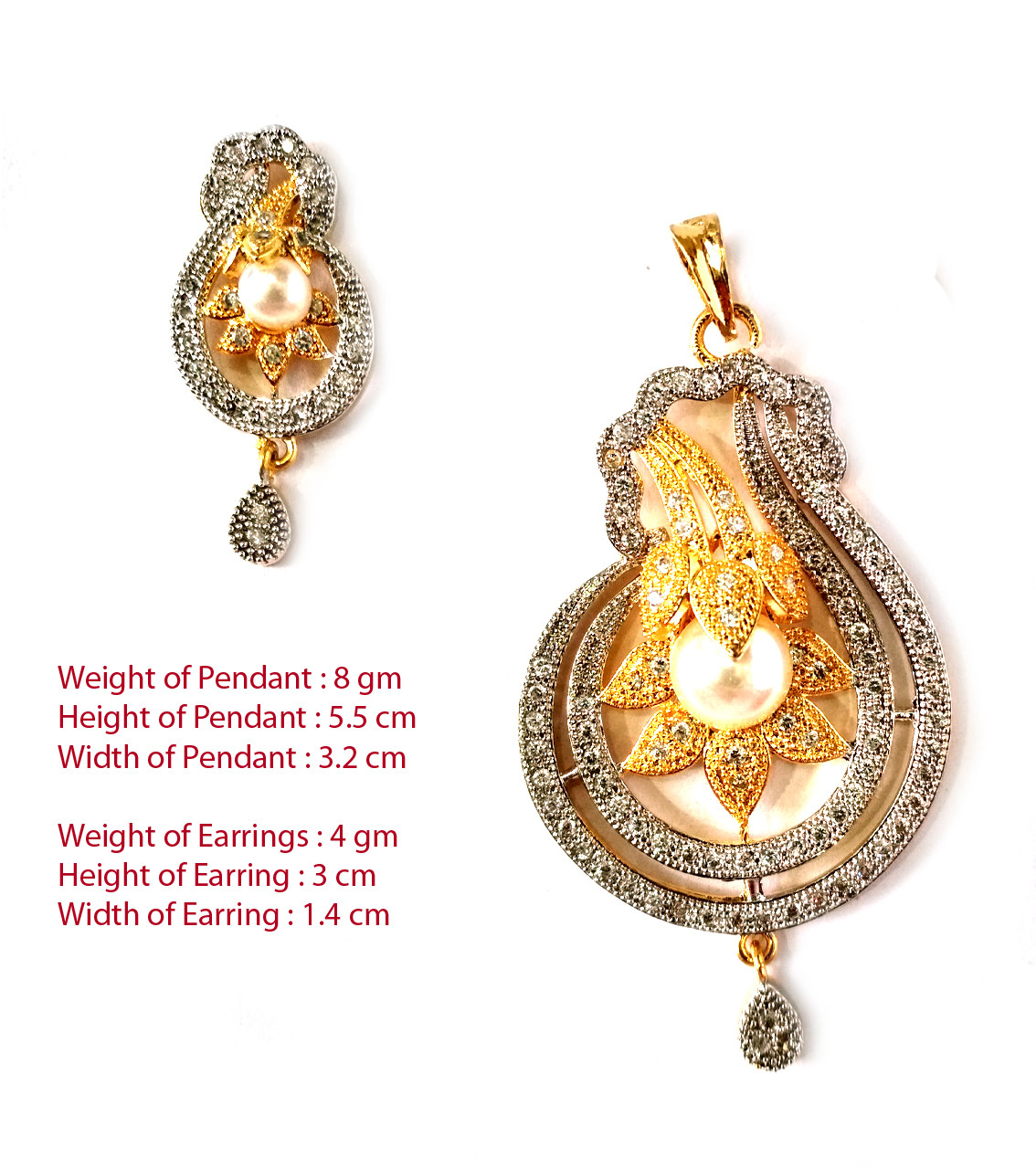 American Diamond Pendant Set With Earrings For Woman & Girls HM028