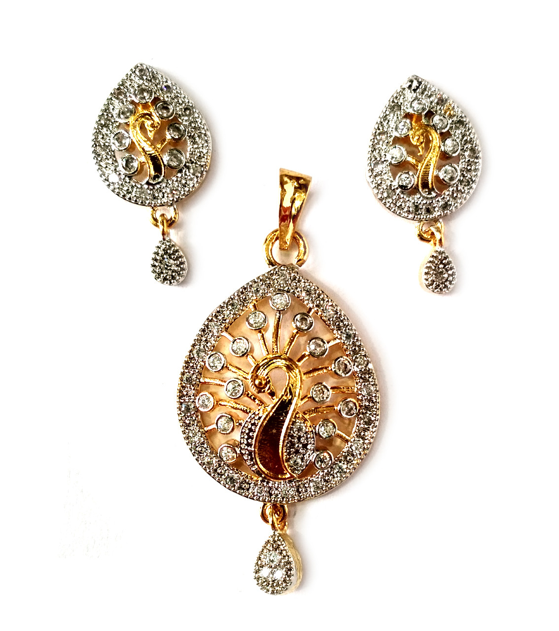 American Diamond Pendant Set With Earrings For Woman & Girls HM029