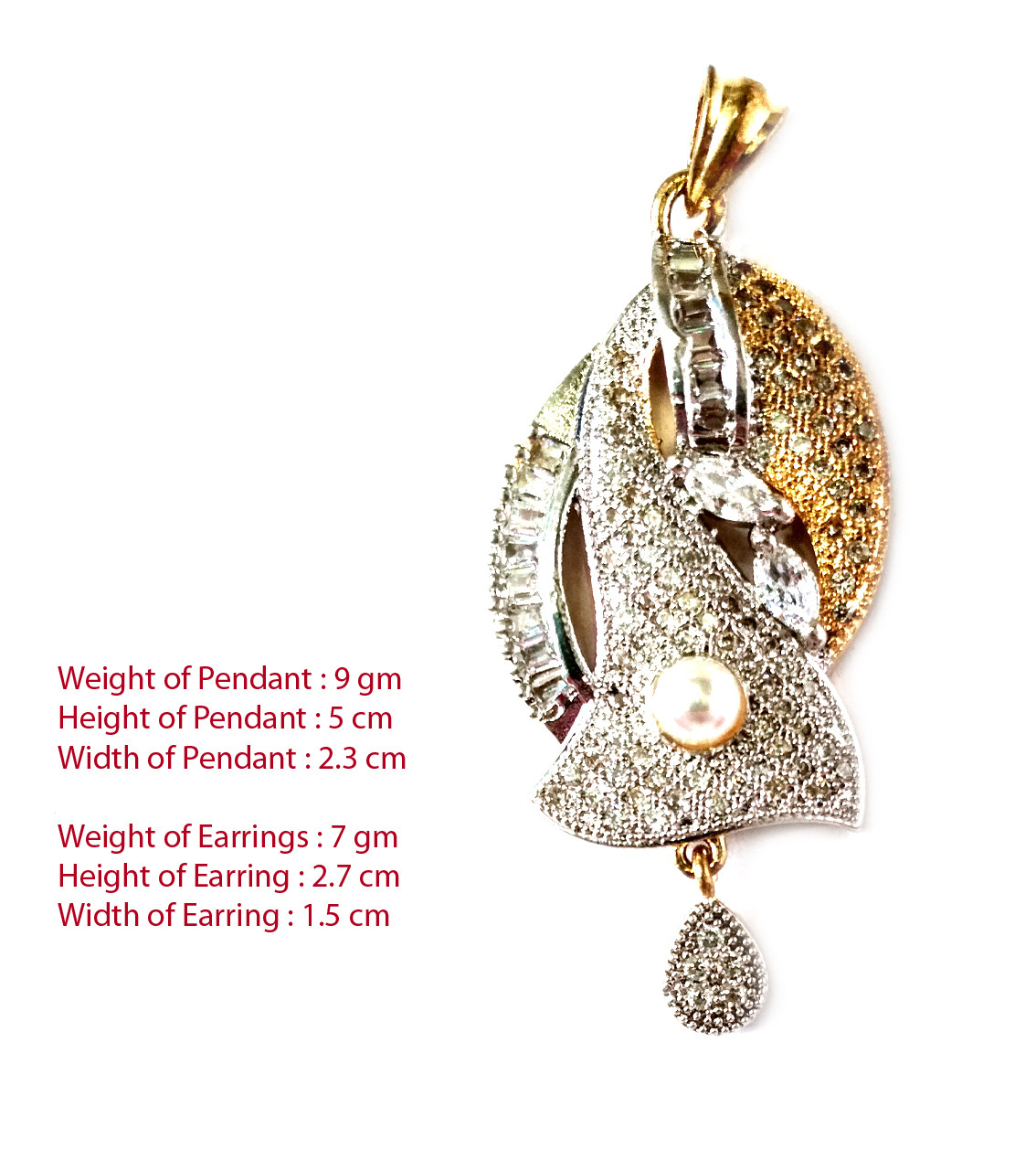 American Diamond Pendant Set With Earrings For Woman & Girls HM030