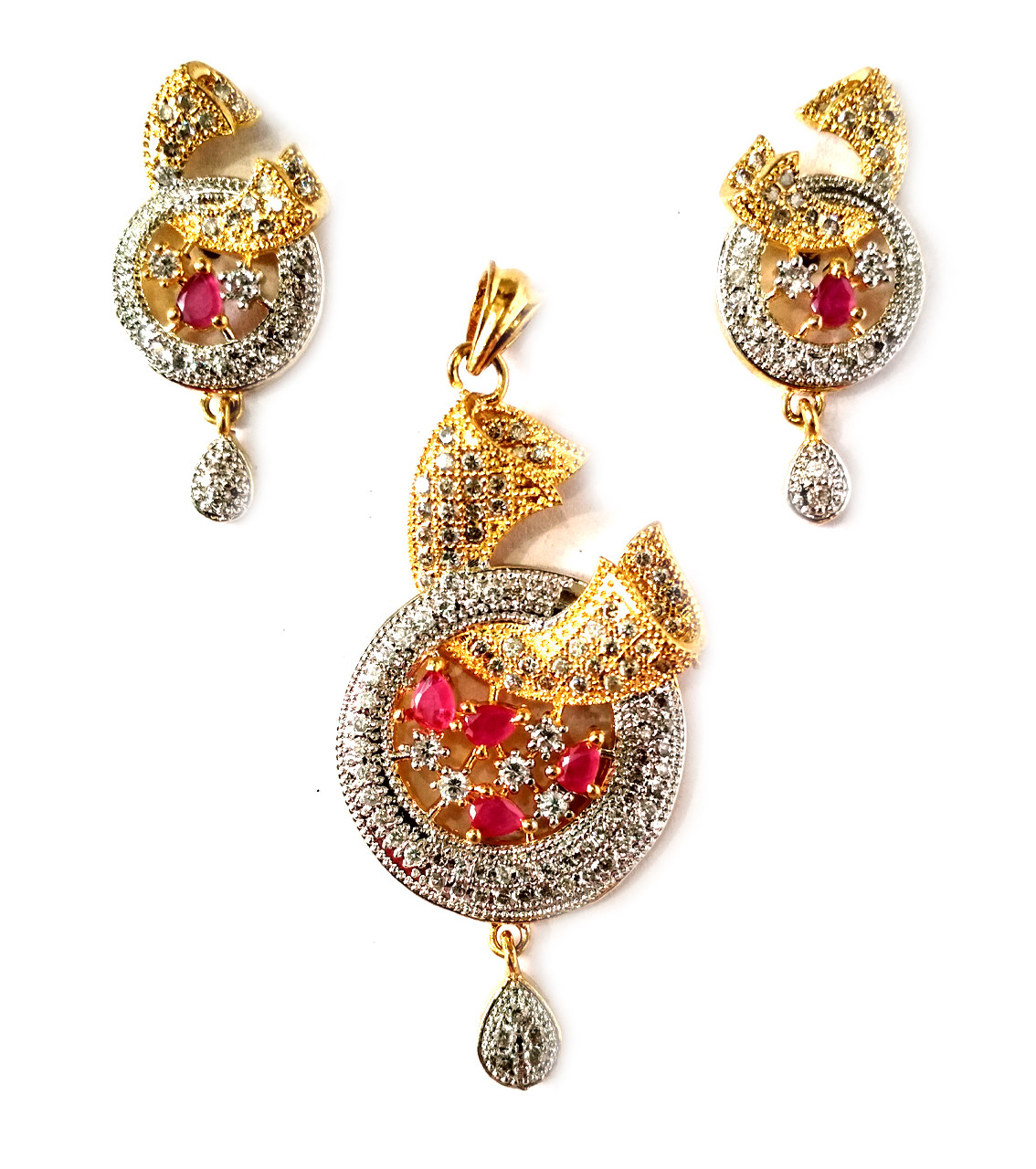 American Diamond Pendant Set With Earrings For Woman & Girls HM031