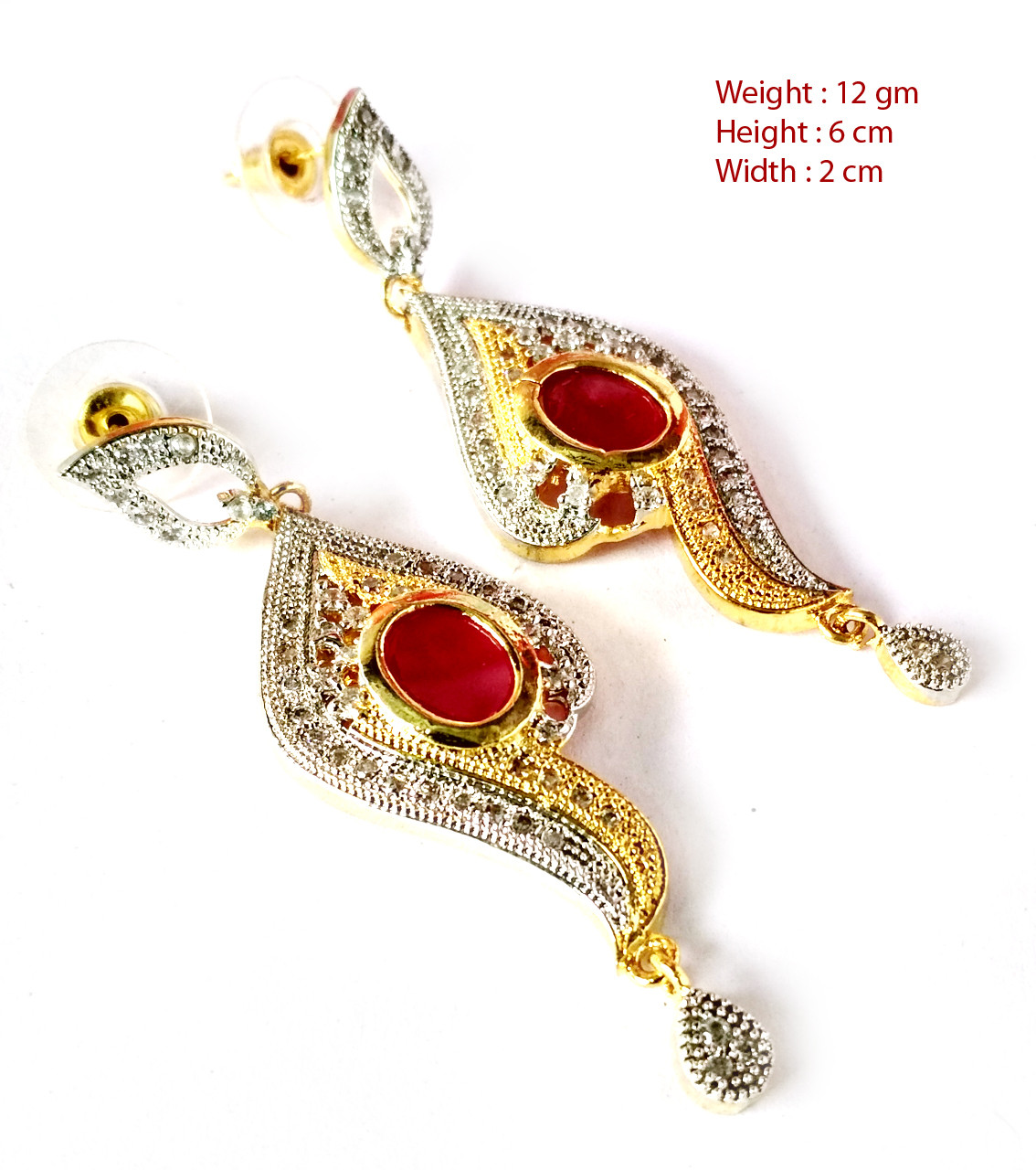 American Diamond Earrings From Kolkata For Woman & Girls HM03