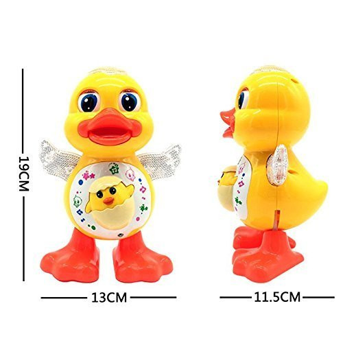 HM Dancing Duck Toy with Real Dance Action and Music Flashing Lights, Multi Color