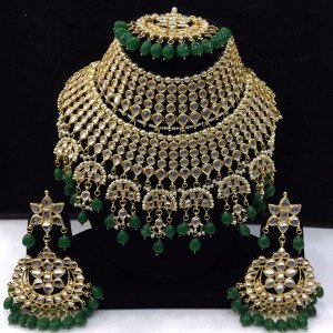 HM Bridal Necklace Set With Earrings & Maang Tikka Kundan Stone Green Beads Color Three Line For Woman & Girls
