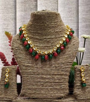 High quality kundan necklace sets Green Maroon color  for women & girls 21220-2