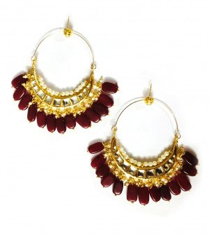 Kundan Earrings Maroon Color For Woman & Girls