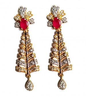 American Diamond Earrings From Kolkata For Woman & Girls HM01