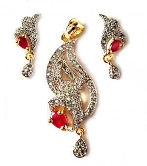 American Diamond Pendant Set With Earrings For Woman & Girls HM023