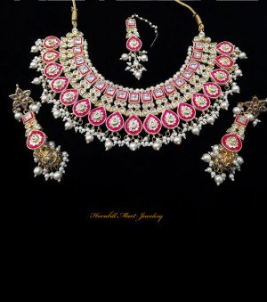 HM Kundan Necklace Set Rani Color Meenakari Work