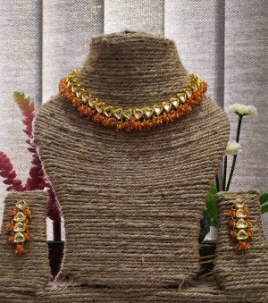 High quality kundan necklace sets Orange color  for women & girls 21220
