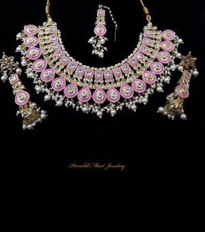 HM Kundan Necklace Set Pink Color Meenakari Work