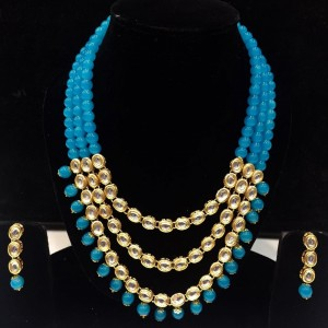 Firozi Color Necklace Set With Earrings Kundan Stone For Woman & Girls